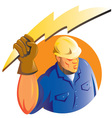 construction worker electrician vector image vector image