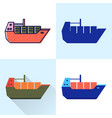 container ship icon set in flat and line styles vector image vector image