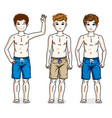 cute little boys children standing wearing beach vector image vector image