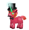cute pink unicorn pony with a green jade horn with vector image