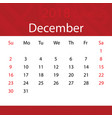 december 2018 calendar popular red premium for vector image