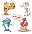 dog mouse shark snake - set animals vector image
