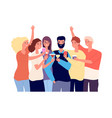 drinking friends group funny guys clink vector image