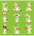 easter set with eggs and children in bunny vector image vector image