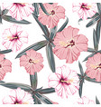 exotic tropical palms and hibiscus flowers vector image vector image