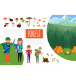 flat forest adventure composition vector image vector image