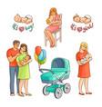 flat newborn baby symbols set vector image vector image
