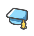 graduation blue cap icon cartoon vector image
