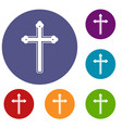 holy cross icons set vector image vector image