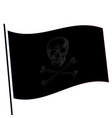 isolated black color flag with grey image skull vector image