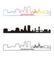 Jacksonville skyline linear style with rainbow vector image vector image