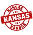 Kansas red round grunge stamp