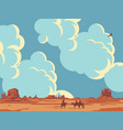 landscape with cloudy sky and cowboys vector image vector image