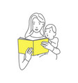 mother reading a book for baby vector image