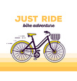moving fast bicycle with basket and text vector image vector image