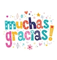 Muchas gracias many thanks in Spanish card vector image