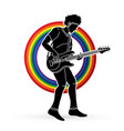 musician playing bass music band graphic vector image