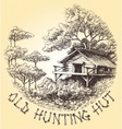 old hunting hut in woods round decoration vector image