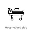 outline hospital bed side view icon isolated