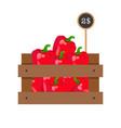 pepper in wooden grate vector image vector image