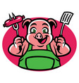 pig character holding the bbq fork and sausage vector image vector image
