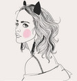 portrait young beautiful woman vector image