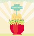 Red flowerpot with green grass and easter eggs vector image vector image