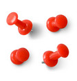 red push pin 3d realistic red paperclip with vector image