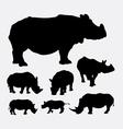 Rhinoceros wild animal silhouettes vector image vector image