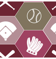 seamless background with baseball icons vector image vector image
