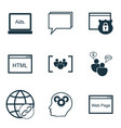 Set of 9 seo icons includes conference digital