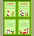 set of four banners with santa claus and elf vector image vector image