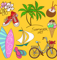 Set of isolated summer icons vector image