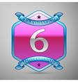 Six years anniversary celebration silver logo with vector image vector image