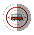 sticker with circular shape with colorful red van vector image vector image