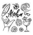 surfing aloha sea travel hand drawn vector image