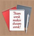 text team work makes dream vector image vector image