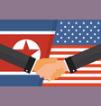 two politicians handshake in front an american vector image