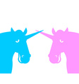 Two unicorn Pink fanatical beast Blue fabulous vector image