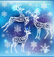 white silhouette of stylized deers vector image vector image