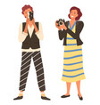 women taking photo photographer female vector image vector image
