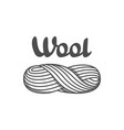 wool emblem with with skein of yarn label for vector image vector image