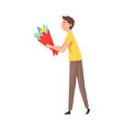 young man giving bouquet flowers cartoon vector image vector image