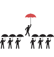 A person with red umbrella is picked vector image vector image
