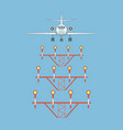 airplane over landing lights front view vector image