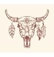 Aztec tribal buffalo skull t-shirt print vector image