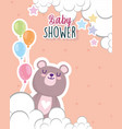 baby shower little bear with balloons stars vector image vector image