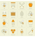 Bee honey icons flat line set vector image