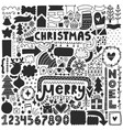 black christmas doodles vector image vector image