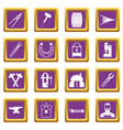 blacksmith icons set purple vector image vector image